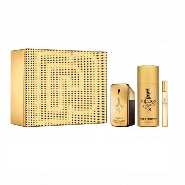 Paco Rabbane 1 Million Men 50ml woda toaletowa + 10ml woda toaletowa + 150ml dezodorant
